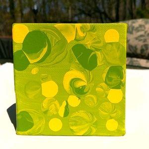Original art abstract painting yellow & green